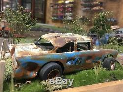Custom Adult Built Weathered Dirt Late Model 55 Chevy Race Car Diorama