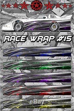 RACE CAR GRAPHICS #15, Half Wrap Vinyl Decal IMCA Late Model Dirt Trailer Truck