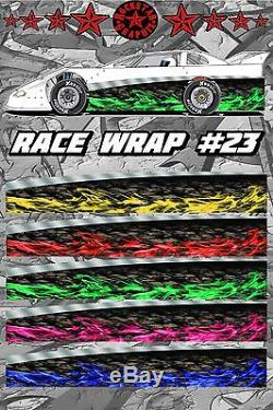 RACE CAR GRAPHICS #23, Half Wrap Vinyl Decal IMCA Late Model Dirt Trailer Truck