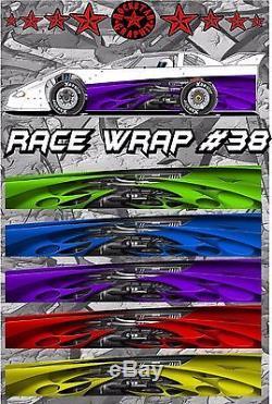 RACE CAR GRAPHICS #38, Half Wrap Vinyl Decal IMCA Late Model Dirt Trailer Truck