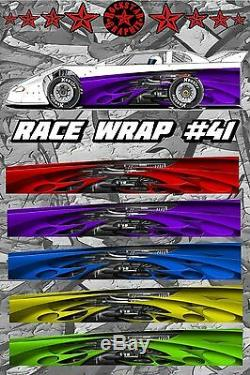 RACE CAR GRAPHICS #41, Half Wrap Vinyl Decal IMCA Late Model Dirt Trailer Truck