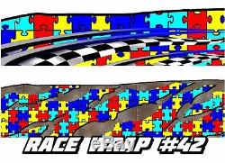 RACE CAR GRAPHICS #42, Autism Awareness Wrap Vinyl Decal IMCA Late Model Dirt