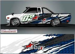 Race Car Wrap Graphics Decals IMCA Late Model Street Stock Mini Dirt decal Star2